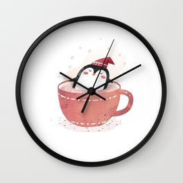 penguin in tea cup Wall Clock