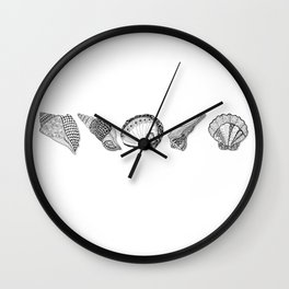 Seashell Doodle Art in Black and White Wall Clock