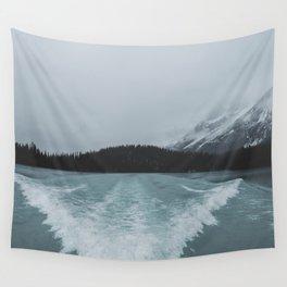 Maligne Lake Boating | Landscape Photography By Magda Opoka | Minimalism Wall Tapestry