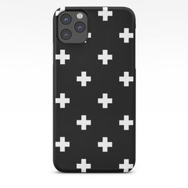 Swiss cross pattern white on black iPhone Case