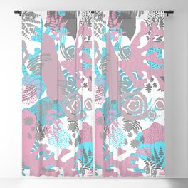Artistic nautical teal pink gray coral floral pattern Blackout Curtain