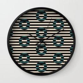 stripes & circles-teal Wall Clock