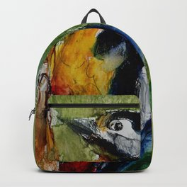 Woodpecker, mixed media drawing Backpack