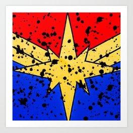 CaptainMarvel Splatter Logo Art Print