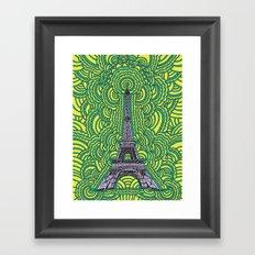 Eiffel Tower Drawing Meditation - purple/yellow/teal Framed Art Print