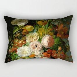"""Rachel Ruysch """"Still Life with Flowers in a Glass Vase"""" Rectangular Pillow"""