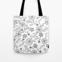 Floral pattern black and white 1 Tote Bag