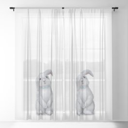 White Rabbit Boy isolated Sheer Curtain