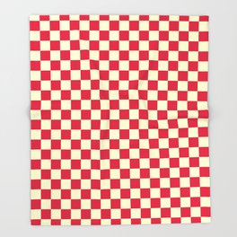 Cream Yellow and Crimson Red Checkerboard Throw Blanket