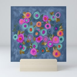 Rose garden roses cottage blue pink orange Mini Art Print