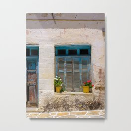 Charming Shutters in Greece Metal Print