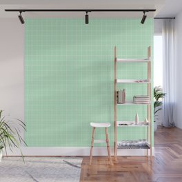 Mint Green with White Grid Wall Mural