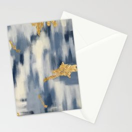 Blue and Gold Ikat Pattern Abstract Stationery Cards