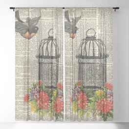 Birdcage on Dictionary Page Sheer Curtain