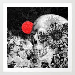 Fire in the dark, nature skull Art Print