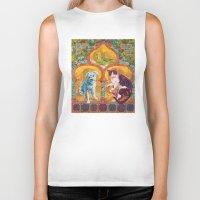 golden girls Biker Tanks featuring Golden Temple of the Good Girls by Susan Carlson
