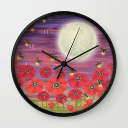 purple sky, fireflies, snails, and poppies Wall Clock