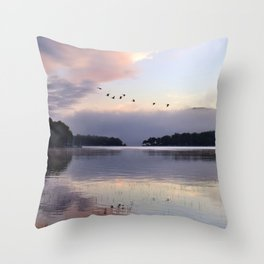 Uplifting II: Geese Rise at Dawn on Lake George Throw Pillow