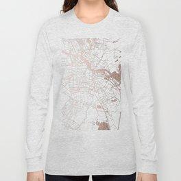 Amsterdam White on Rosegold Street Map Long Sleeve T-shirt