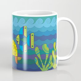 Stylize fantasy fishes and turtle under water. Coffee Mug