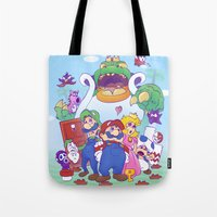 mario bros Tote Bags featuring Mario Bros. 2 nostalgia  by Damon Fernandez