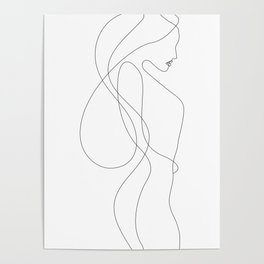 Lady with Long Hair Poster