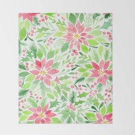 Christmas watercolor Throw Blanket