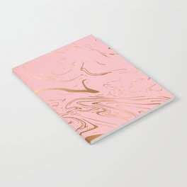 Pink Gold Liquid Marble Notebook