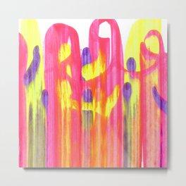 Neon Rainbow Swirls Abstract Metal Print