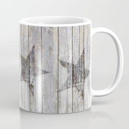 Grunge Star on old weathered grey wood Coffee Mug