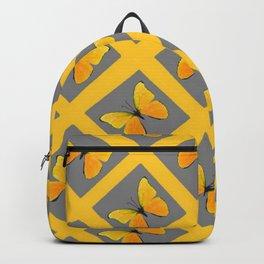 GOLDEN BUTTERFLIES GREY LATTICE  DESIGN Backpack