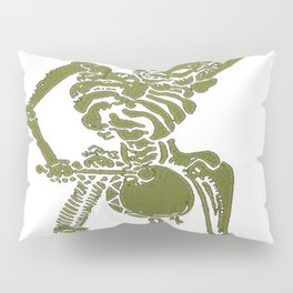 A Zombie Undead Skeleton Marching and Beating A Drum Pillow Sham
