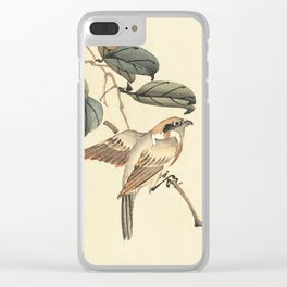 Vintage brown ivory bird floral tree branch Clear iPhone Case