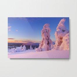 II - Sunset over frozen trees on a mountain, Levi, Finnish Lapland Metal Print