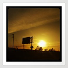 Catching the sunset from the freeway. Art Print