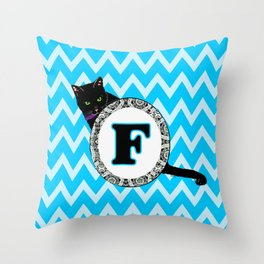 Letter F Cat Monogram Throw Pillow