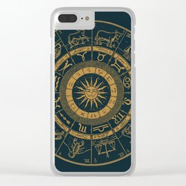 Vintage Zodiac & Astrology Chart | Royal Blue & Gold Clear iPhone Case