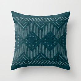 Teal Tribal Throw Pillow