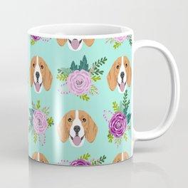 Beagles pattern floral dog breed beagle art pet portrait pet friendly dog art Coffee Mug