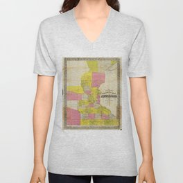 Chapman's New Sectional Map of Minnesota (1856) Unisex V-Neck