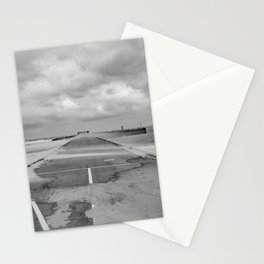 A wind on the pier - Scheveningen The Hague photo | Black and white monochrome beach nature windy storm clouds photography art print Stationery Cards