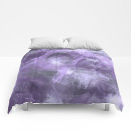 Stormy Abstract Art in Purple and Gray Comforters