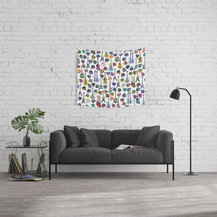 Guitars and Picks Wall Tapestry