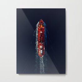 Top View Red Nautical Vessel | Aerial Photography  Metal Print