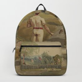 Vintage Painting of a Baseball Game (1887) Backpack