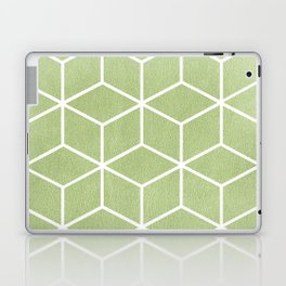 Lime Green and White - Geometric Textured Cube Design Laptop & iPad Skin