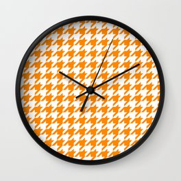 Orange: Houndstooth Checkered Pattern Wall Clock
