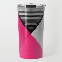 Black White and Bright Pink Travel Mug