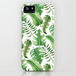 Hand drawn palm leaf pattern. iPhone Case