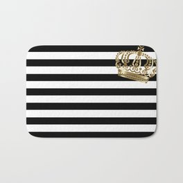 Black and White Stripes and Gold Crown 2 Bath Mat